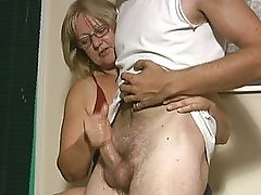 Mature chubby blonde likes giving hand jobs
