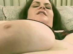 Fat busty brunette screwed on sofa