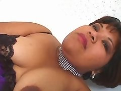 Sexy busty chubby lady enjoys dildo