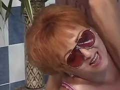 Redhead fat lady in orgy near pool