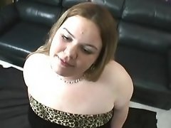 Chubby woman deep throats hard cock