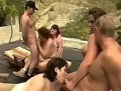 Sex hungry fatties get jizz outdoor