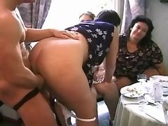 Dudes fuck fat matures on sex party