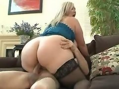 Chubby blonde fucked and gets cum