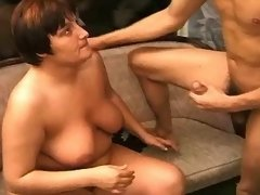 Lustful mature fatties on sex party