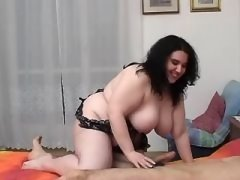 Yummy fatty seduces guy and sucks