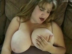 BBW with giant melons sucks cock