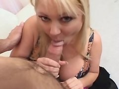 Lewd blonde fatty sucks strong cock