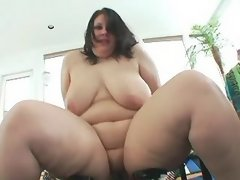 Chesty horny fatty eats tasty sperm