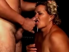 Fat granny gets cumload in mouth