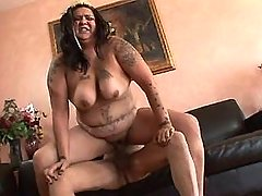 Fat slut gets fuck and cum on tits