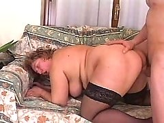 Fat mature gets cumload on boobs